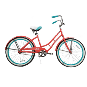 Columbia 24 Tybee Vintage Single Speed Cruiser Women's Bike - Peach/Blue (Pink/Blue)