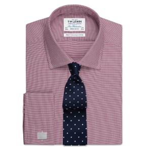 """Regular Fit Burgundy Micro Dogtooth Shirt - Double Cuff"""