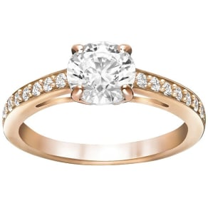 Swarovski Attract Round Ring, White, Rose Gold Plating White Rose Gold-Plated