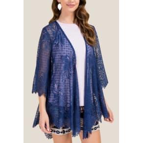Carleigh Scalloped Lace Kimono - Navy