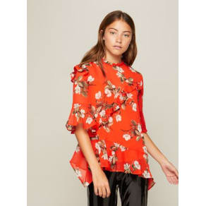 Womens Red Print Asymmetric Ruffle Blouse, Assorted