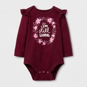 Baby Girls' Long Sleeve Still Growing Bodysuit - Cat & Jack Burgundy 0-3 Months, Size: 0-3 M, Purple