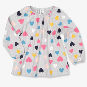 Heart Print Kids Tunic Top - Grey Quality Kids Boys Girls