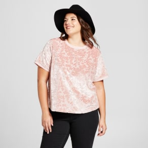 Women's Plus Size Short Sleeve Velour T-Shirt - A New Day Pink 2x, Smoked Pink