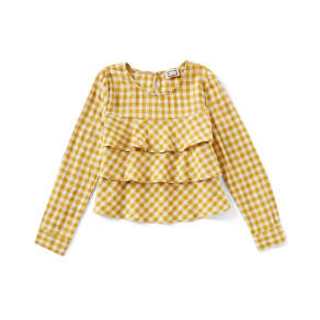 Mo: Vint Little Girls 2-6X Long-Sleeve Gingham Tiered Top