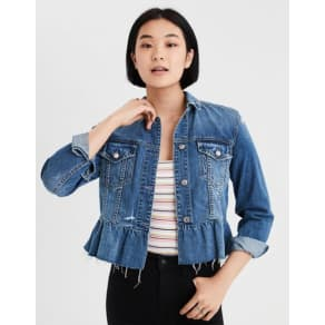 Ae Ruffle Denim Jacket
