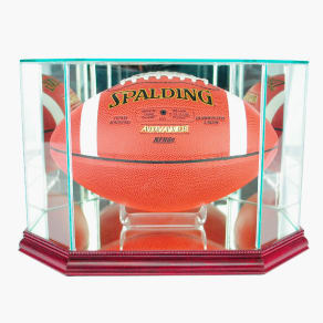 Perfect Cases Octagon Football Display Case With Cherry Finish