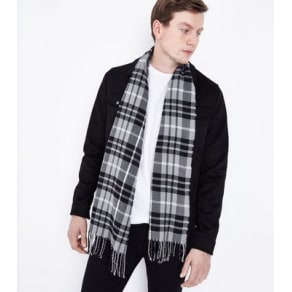 Monochrome Check Scarf New Look