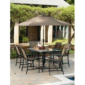 Outdoor Garden Oasis Harrison 7 Piece Sling High Dining Set Limited Availability