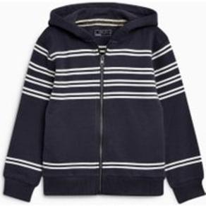 Boys Next Navy Stripe Zip Through Hoody (3-16yrs) -  Blue