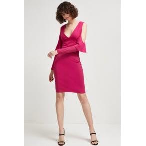 Beau Viscose Jersey Cold-Shoulder Dress - Magenta Haze