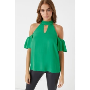 Womens Lipsy Cold Shoulder Choker Blouse -  Green