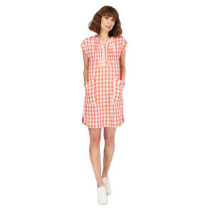 Mantaray Peach Gingham Check Shift Dress