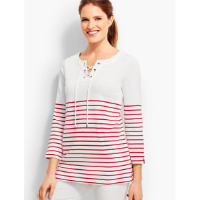 Talbots Women's Piper Stripes Lace Up Pullover