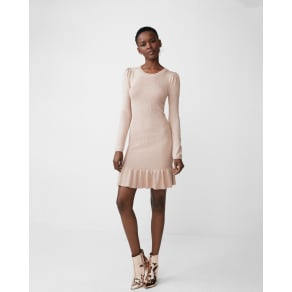 Express Womens Metallic Ruffle Hem Sweater Dress