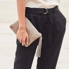 Suede Tassel Clutch Bag