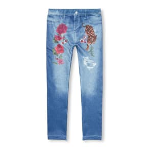 Girls  Rose Tiger Graphic Faux Destructed Denim Leggings - Blue