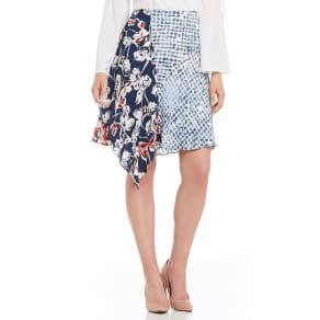 Ivanka Trump Pieced Mixed Print Ruffle Trim Skirt
