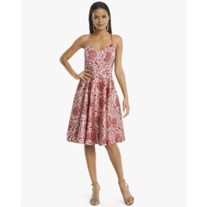Women's Rose Jacquard Fit-And-Flare Dress by White House Black Market