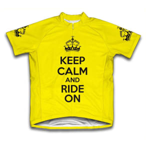 Scudo Keep Calm and Ride On Microfiber Short-Sleeved Cycling Jersey, Yellow, 2XL