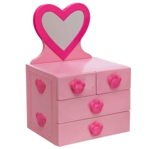 Pink Mirrored Dresser With 4 Drawers