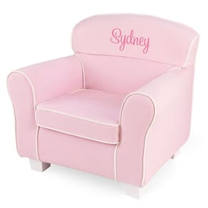 Pink Little Reader Chair With Pink Name, by Things Remembered, in Color White, in Material Wood/Canvas