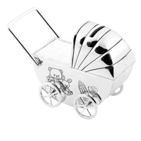 Bambino Silver Plated Pram Money Box, Silver