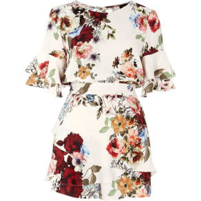 River Island Womens Cream Floral Frill Sleeve Tie Back Playsuit