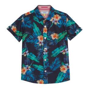 Baker by Ted Baker - 'Boys' Navy Tropical Leaf Print Short Sleeve Shirt
