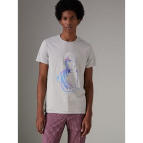 Burberry Bust Print Melange Cotton T-Shirt