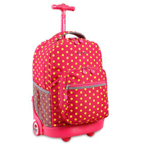 J World Sunrise Rolling Backpack - Pink Buttons