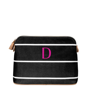 Cathy S Concepts Tasseled Initial-Embroidered Striped Canvas Cosmetic Bag