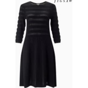 Womens Jigsaw Black Texture Knitted Dress -  Black