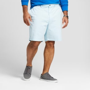 Men's Big & Tall 10.5 Linden Flat Front Shorts - Goodfellow & Co Feather Aqua 60, Blue