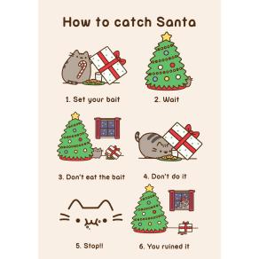 Hype Pusheen Christmas Catch Santa Card