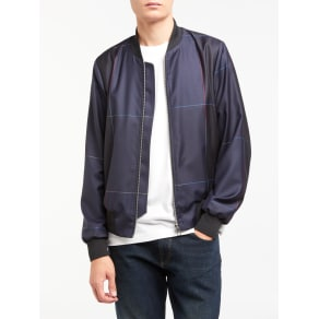 Ps by Paul Smith Windowpane Check Wool Bomber Jacket, Navy