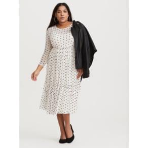 a631280ba63e Ivory Polka Dot Mesh Midi Dress in Black/White. Torrid