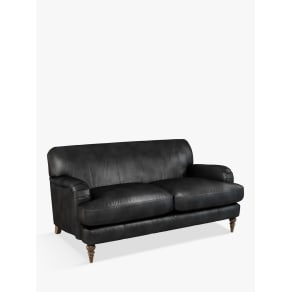 John Lewis & Partners Harrogate High Back Medium 2 Seater Leather Sofa, Dark Leg