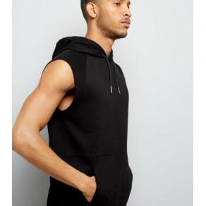 Black Sleeveless Running Hoodie New Look