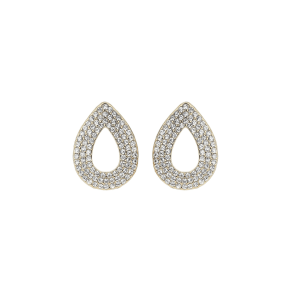 Mikey Crystal Ablong Stud Earring, Gold