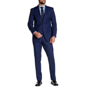 Blue Micro Dotted Two Button Notch Lapel Slim Fit Suit