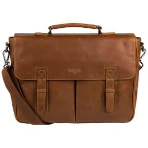 Cultured London - Chestnut 'Task' Buffalo Leather 14-Inch Laptop Briefcase