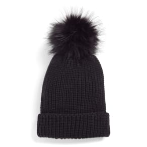 Women's Treasure & Bond Chunky Stitch Beanie With Faux Fur Pom - Black