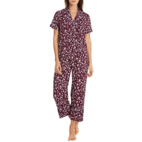 Women's in Bloom by Jonquil Crop Pajamas, Size X-Small - Burgundy