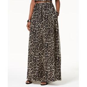 Sl Fashions Metallic-Stripe Animal-Print Maxi Skirt