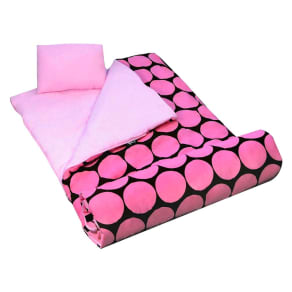 Wildkin Big Dots Sleeping Bag - Pink/ Brown