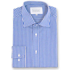 Men's Double Two Paradigm King Size Single Cuff 100 Cotton Shirt, Blue