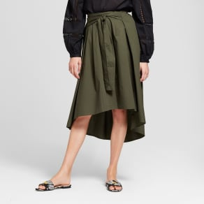 Women's Tie Front Midi Skirt - Who What Wear Olive (Green) 6