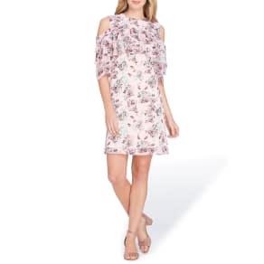Tahari Asl Ruffle Detail Floral Print Dress