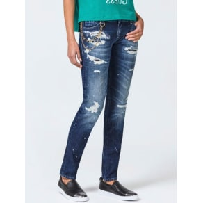 Guess Chain Detail Ripped Slim Jeans